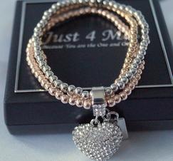Armband Hjärtberlock Guld Silver Rosé